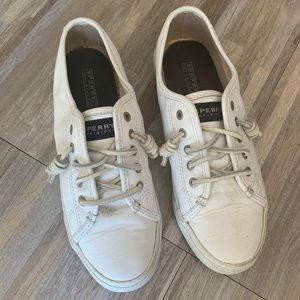 Sperry white leather sneakers size 8